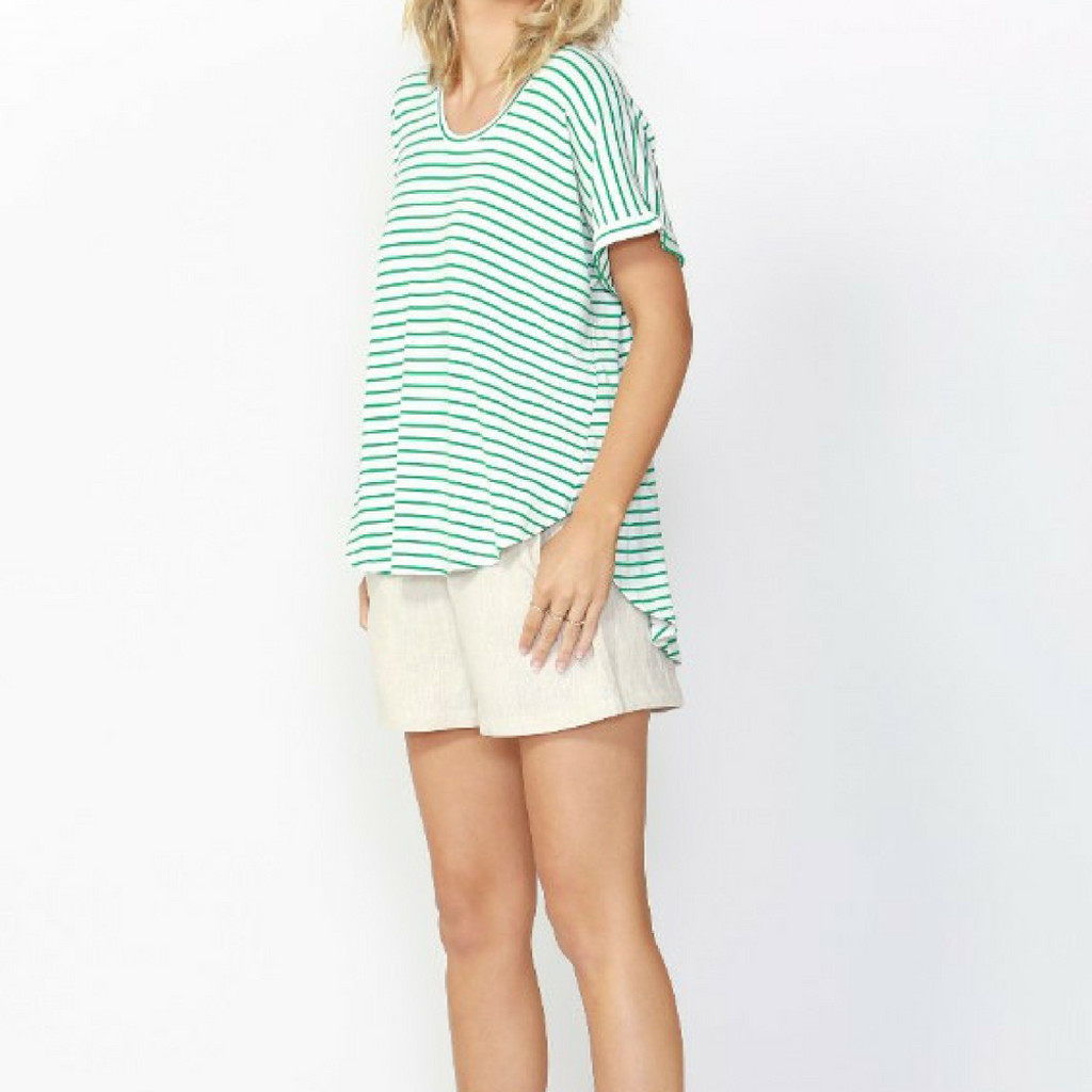 Women's Tops | Adelaide Tee S18 in Emerald/White Stripe| Betty Basics
