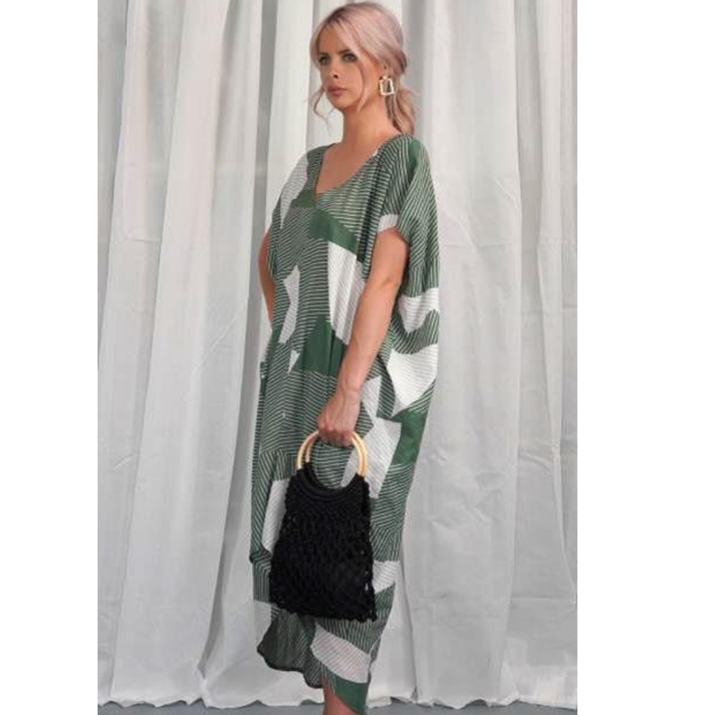 Women's Dresses | KL438 Dress in Green | KIIK LUXE