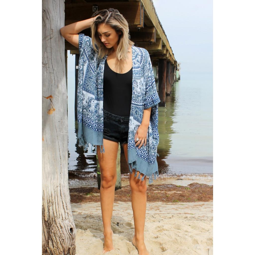 Women's Jackets Online | Summer Classic Kimono in Island Breeze | BIJOU