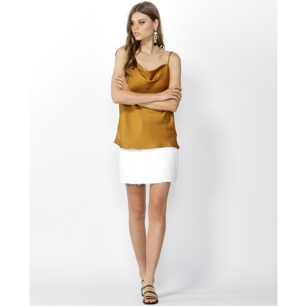 Women's Camis Australia | Good Vibes Cowl Neck Cami in Amber | SASS