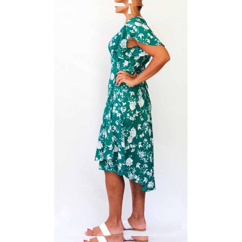 Women's Dress Online | Daisy Wrap Dress in Summer Garden Party Print | NOOSA SOL