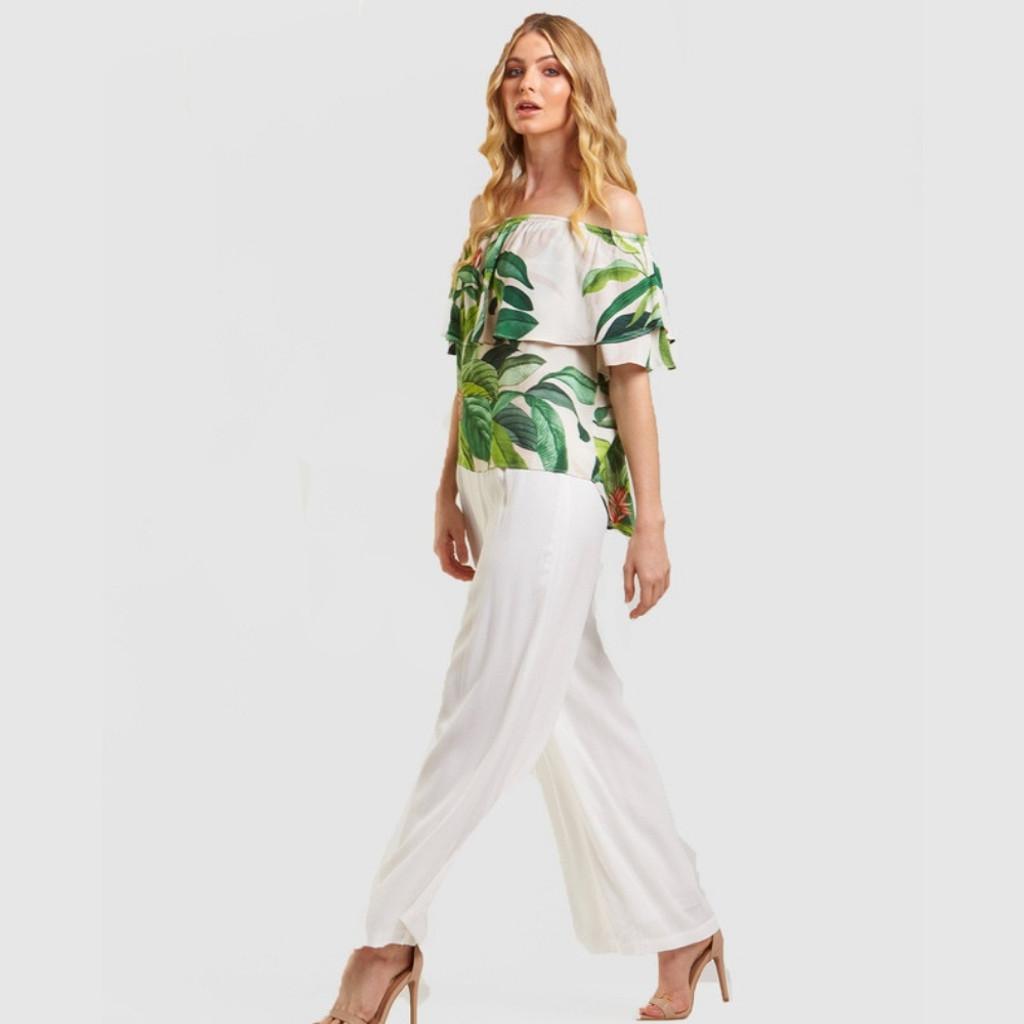 Women's Tops | Tropical Palm Print Top | AMELIUS