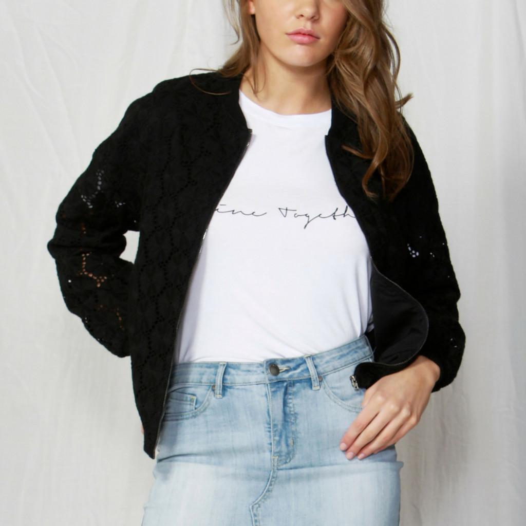Women's Jackets | Emily Lace Bomber Jacket  | FATE + BECKER