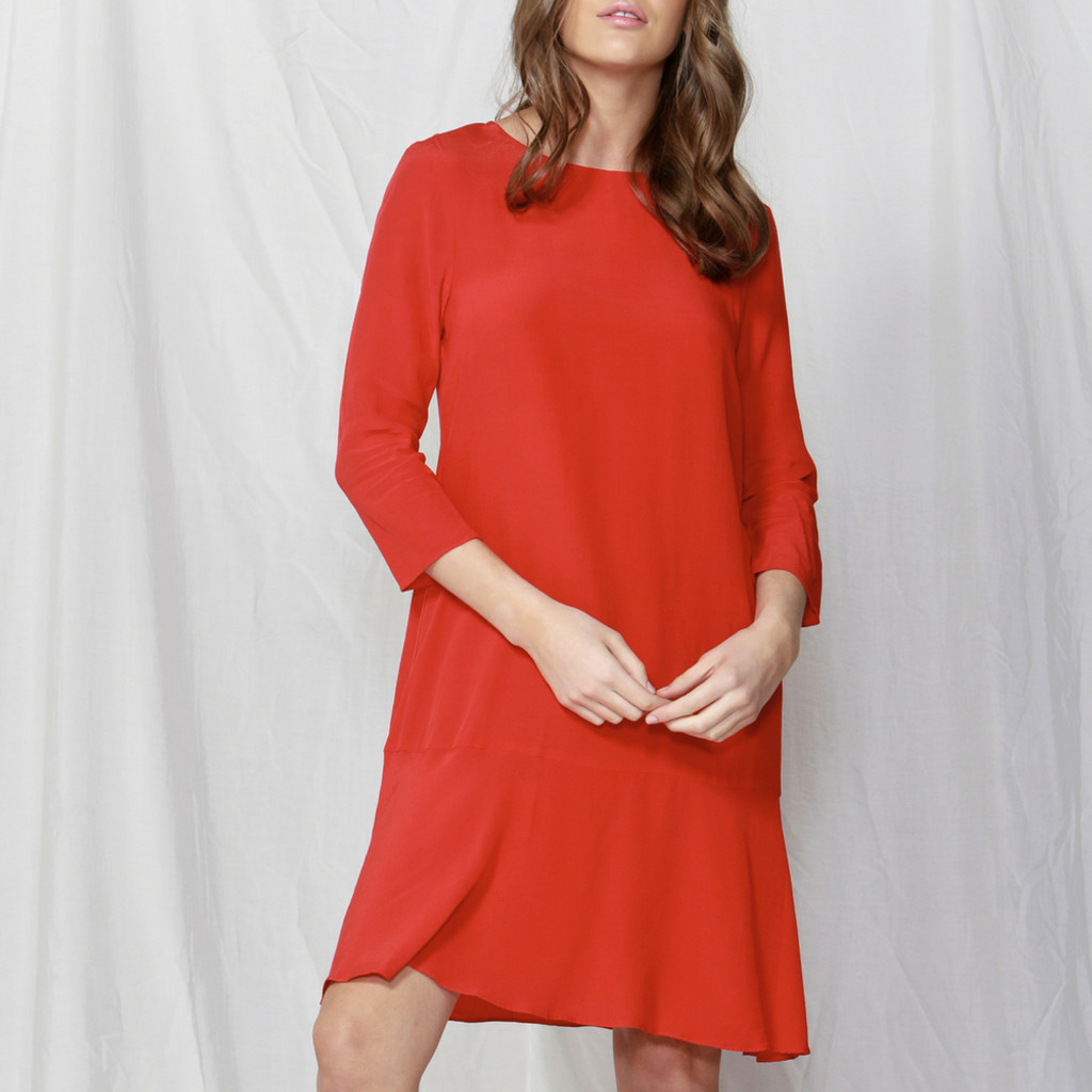 Women's Dreses | Scarlet Flounce Dress | FATE + BECKER