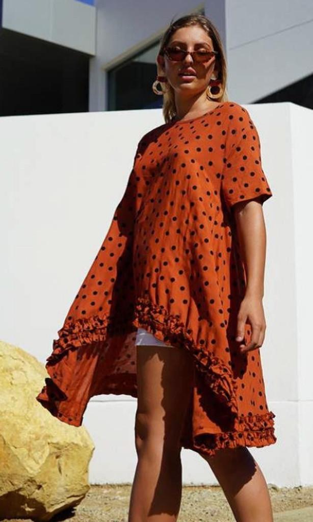 Women's Dresses | KL454 Top in Rust | KIIK LUXE