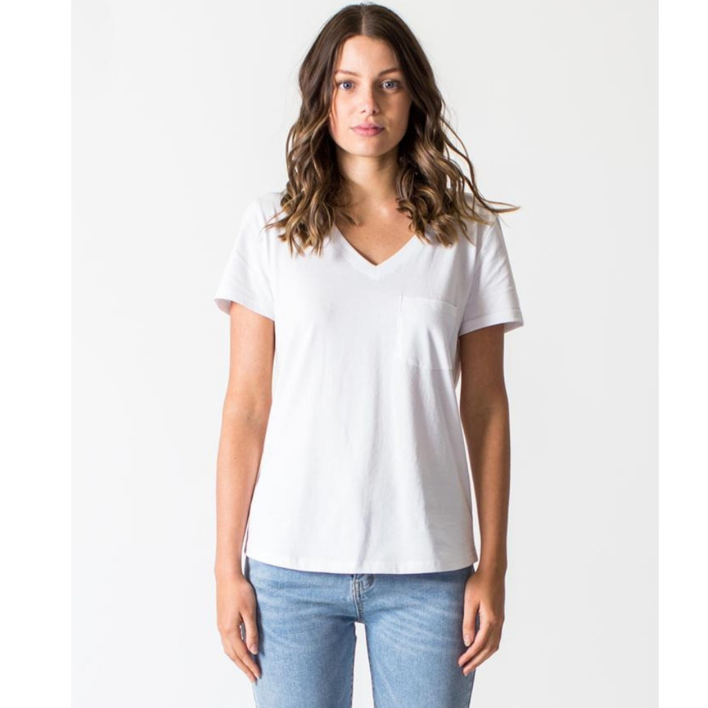 Women's Tops | V-Neck Tee in White| CASA AMUK