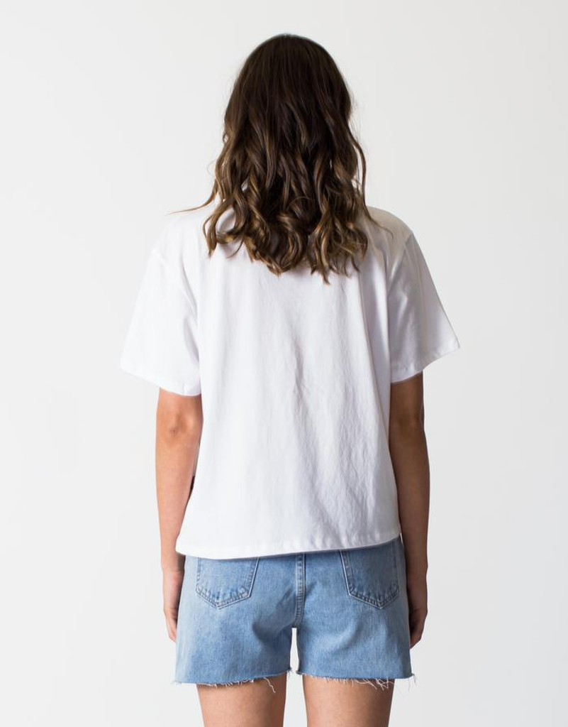 Women's Tops | Logo Vintage Tee in White | CASA AMUK