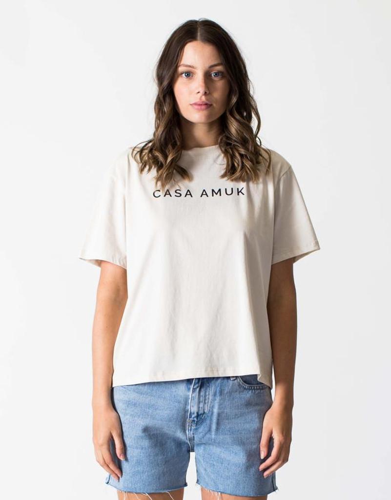 Women's Tops | Logo Vintage Tee in Beige | CASA AMUK