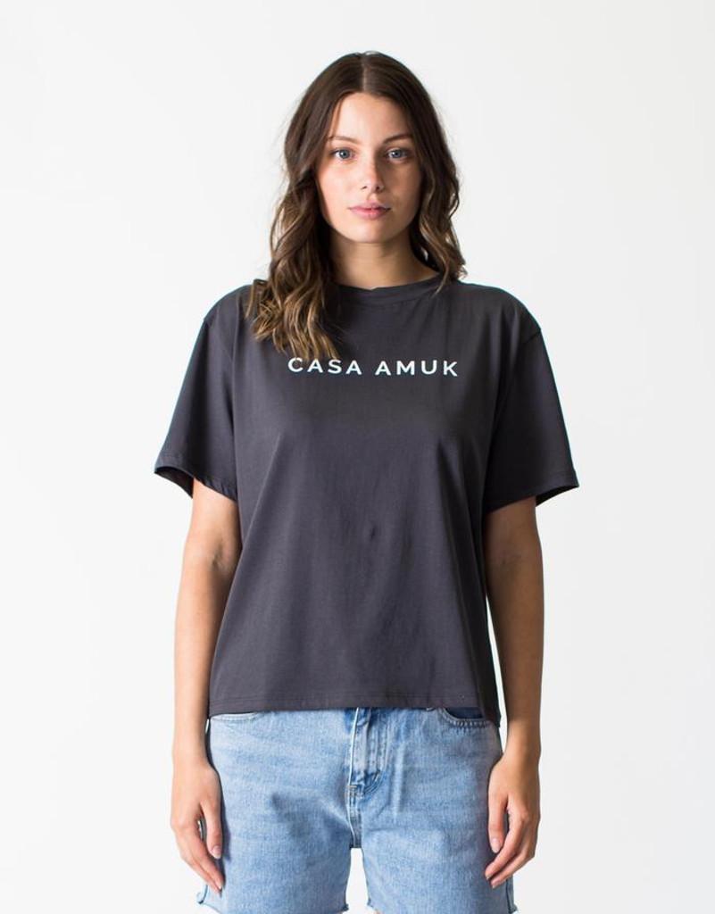 Women's Tops | Logo Vintage Tee in Asphalt | CASA AMUK