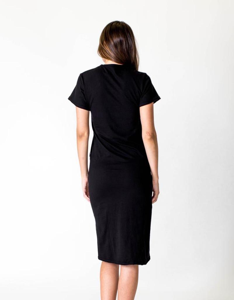 Women's Dresses | Short Sleeve Midi Dress in Black | CASA AMUK