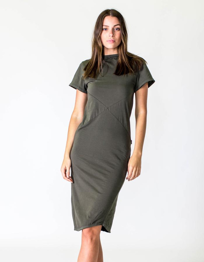 Women's Dresses | Short Sleeve Midi Dress in Olive | CASA AMUK