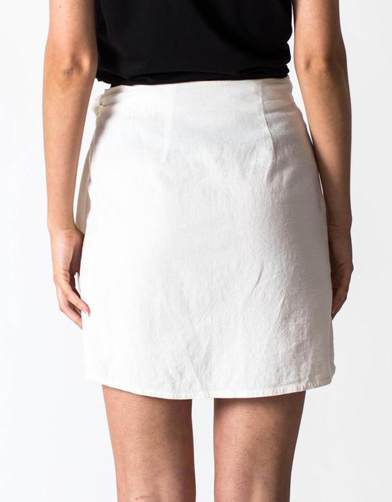 Women's Skirts | Linen Wrap Skirt in White | CASA AMUK