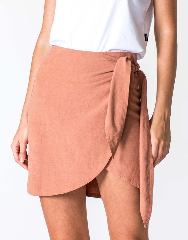 Women's Skirts | Linen Wrap Skirt in Salmon | CASA AMUK