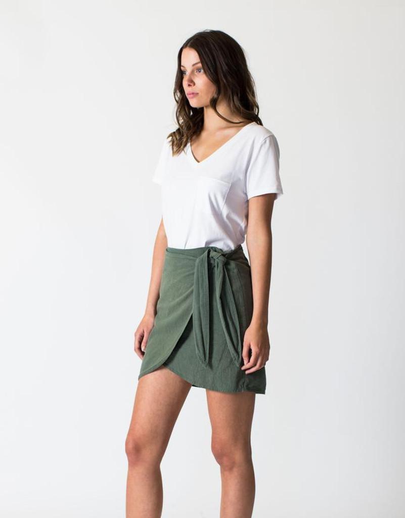 Women's Skirts   Linen Wrap Skirt in Khaki   CASA AMUK