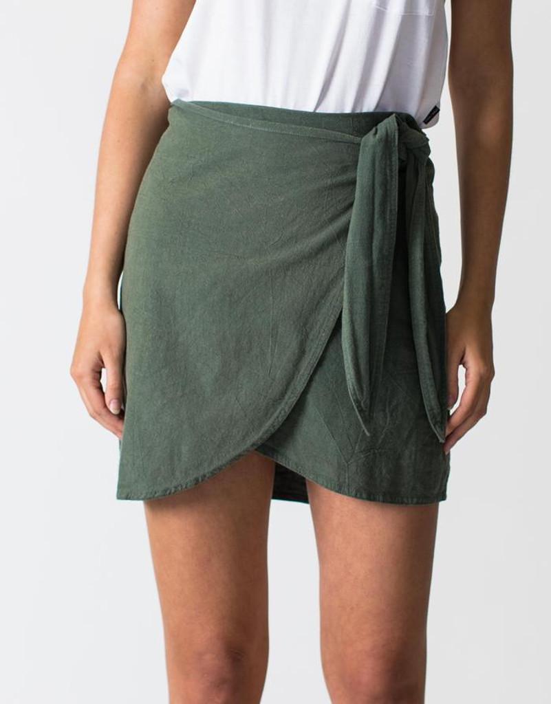 Women's Skirts | Linen Wrap Skirt in Khaki | CASA AMUK