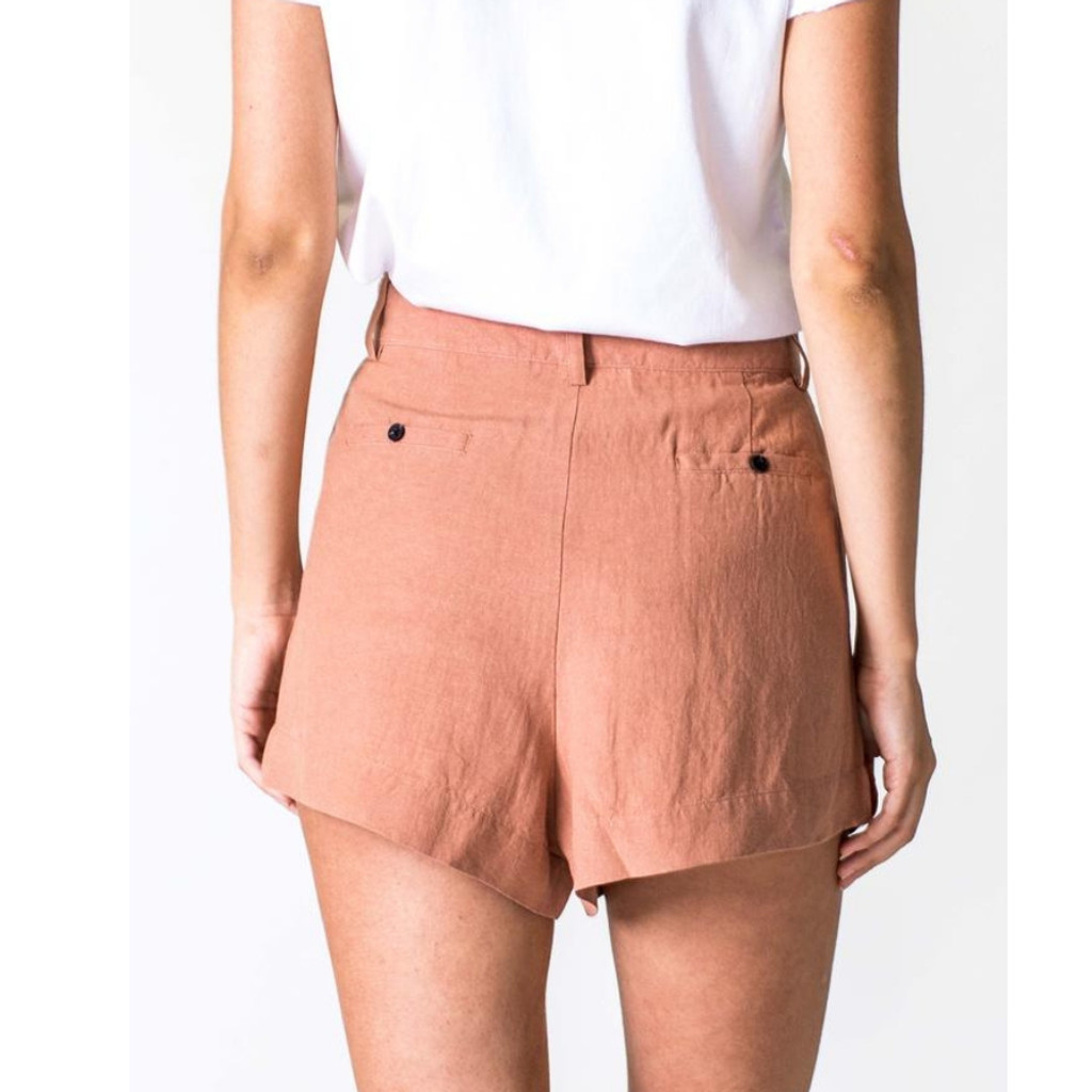 Women's Shorts |  Linen Short in Salmon | CASA AMUK