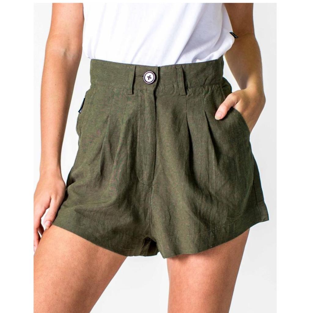 Women's Shorts |  Linen Short in Khaki | CASA AMUK