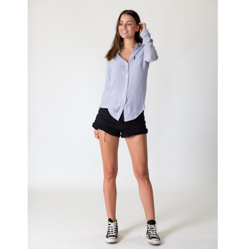 Women's Tops | Linen Shirt in White/Navy | CASA AMUK