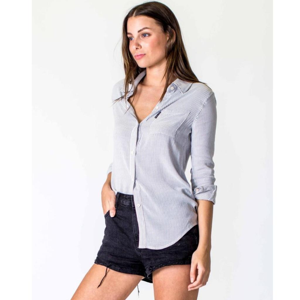 Women's Tops | Linen Shirt in White/Grey | CASA AMUK