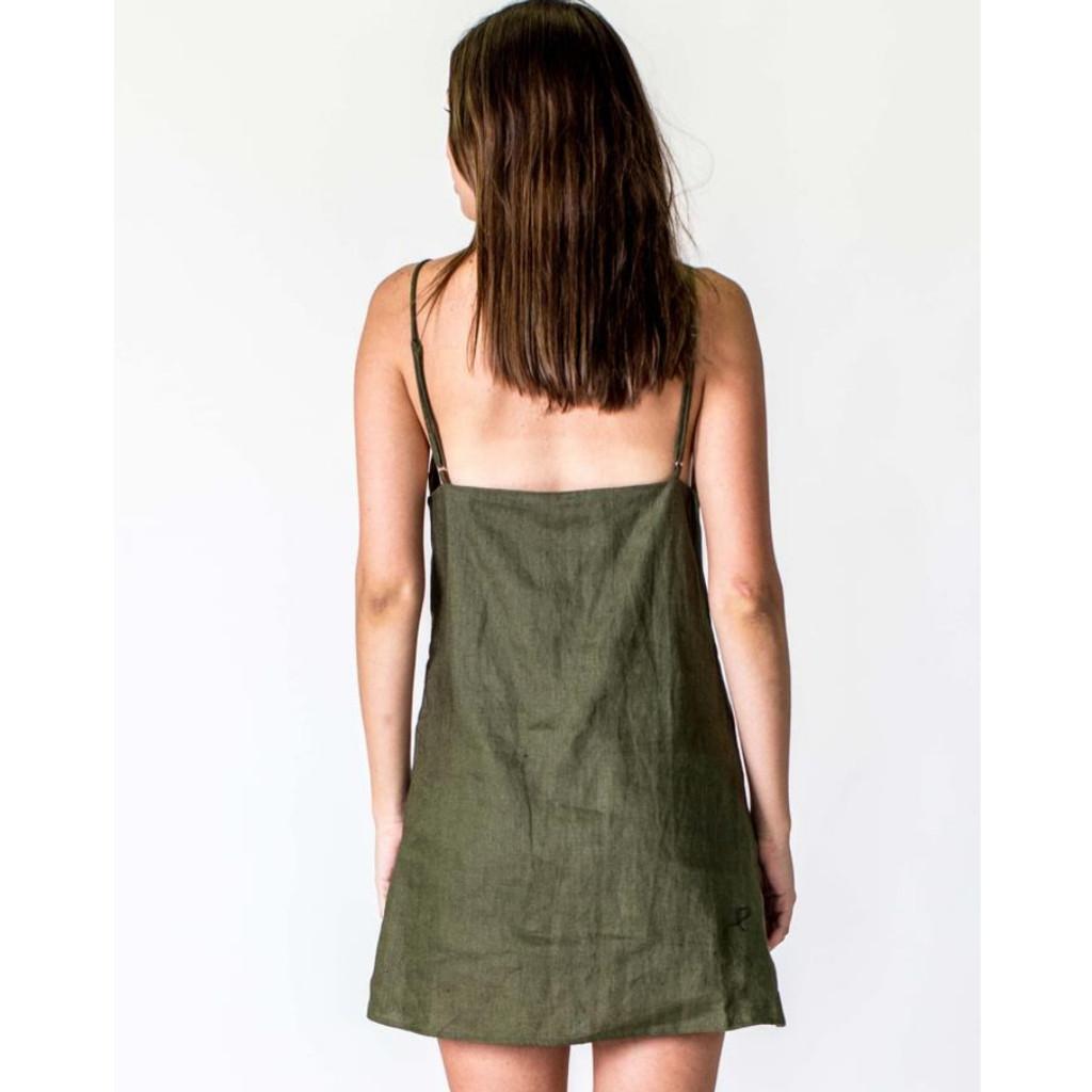 Women's Dresses | A-line Linen Dress in Khaki | CASA AMUK