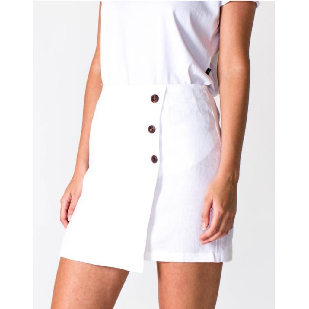 Women's Skirts   A-Line Linen Skirt in White   CASA AMUK