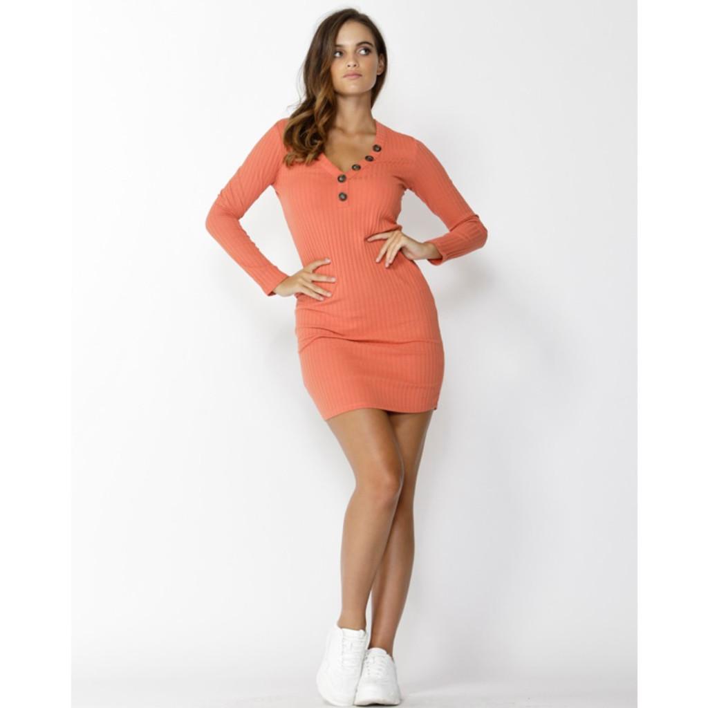 Women's Dresses   Dream Chaser Button Dress in Amber   SASS