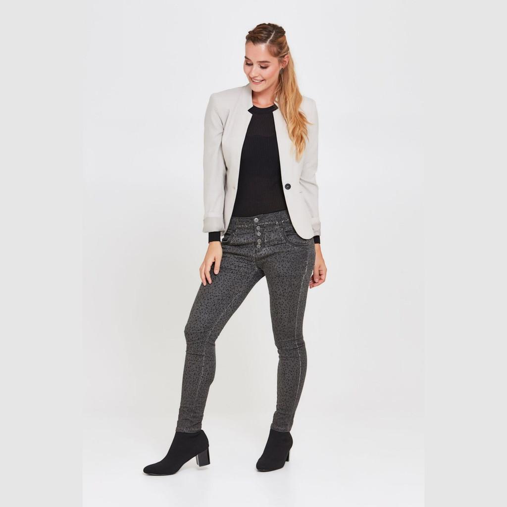 Ladies Pants | Blake Jeans in Charcoal Leopard Print | BIANCO