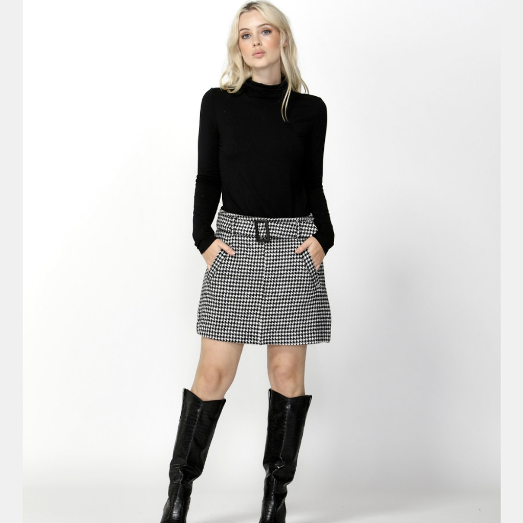 Women's Skirts Australia | Cher Houndstooth Belted Skirt | SASS