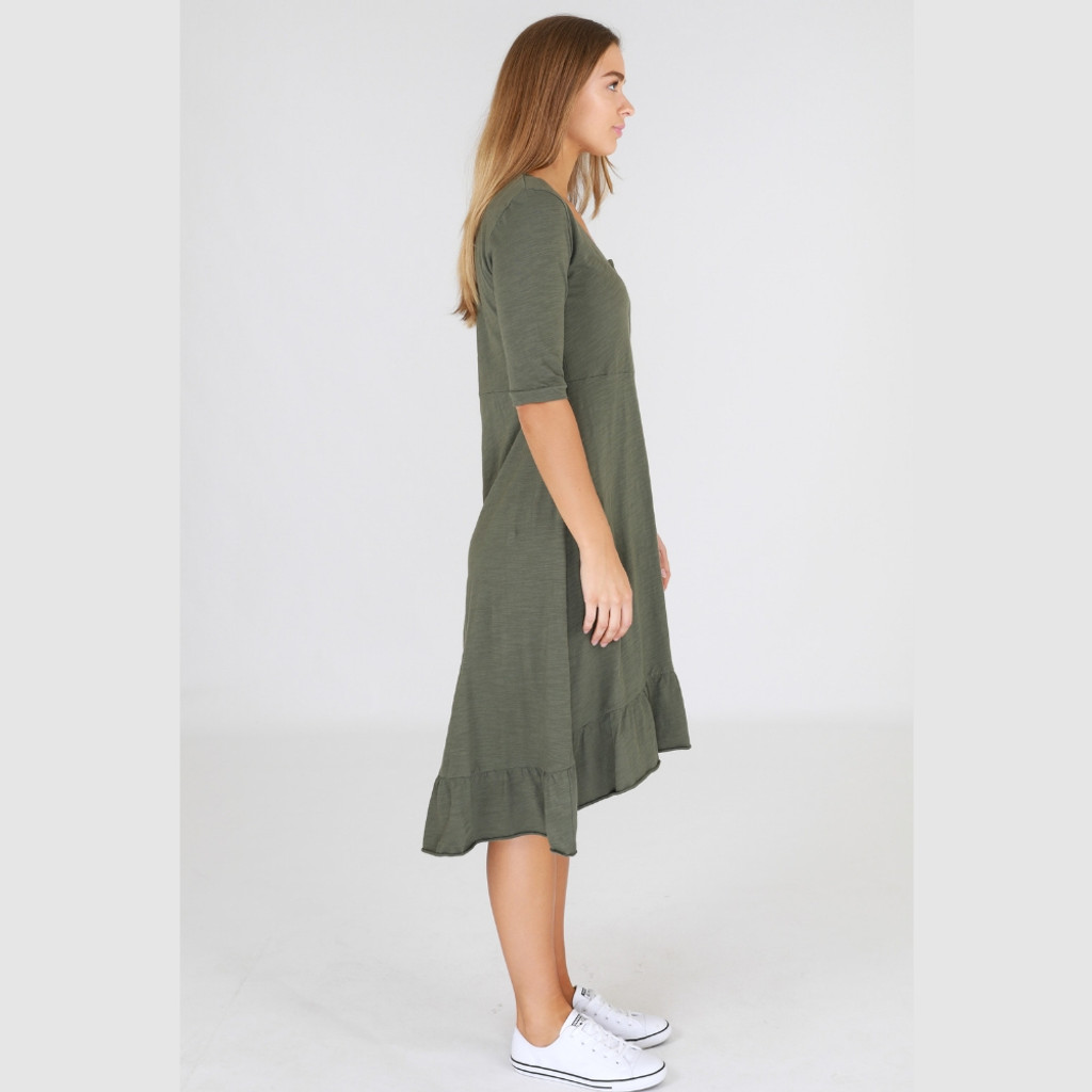 Ladies Dresses | Noosa Dress in Khaki | 3RD STORY