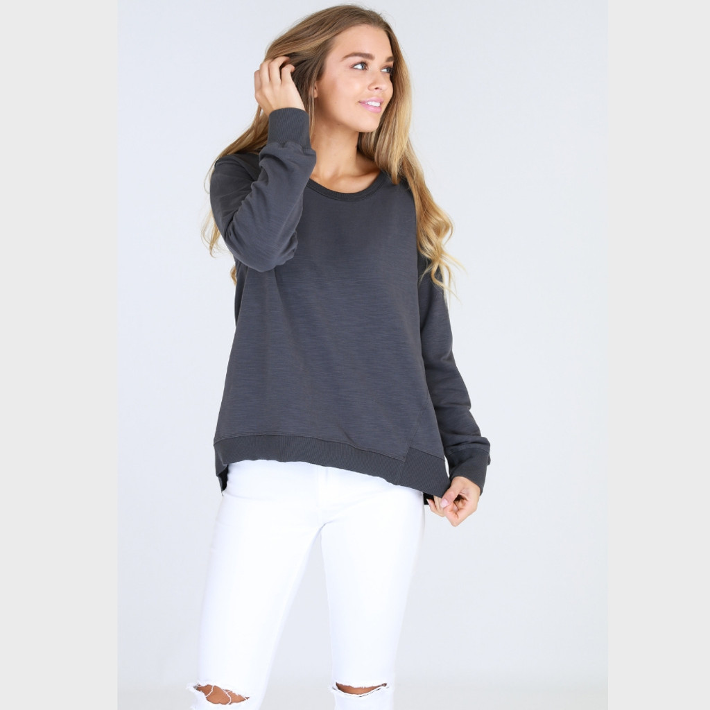 Women's Tops | Newhaven Sweater in Charcoal | 3RD STORY
