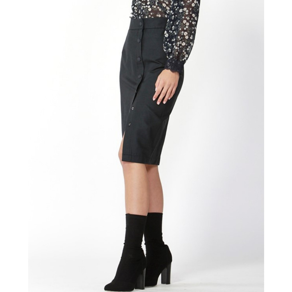 Ladies Skirts | Ines Button Skirt | FATE + BECKER