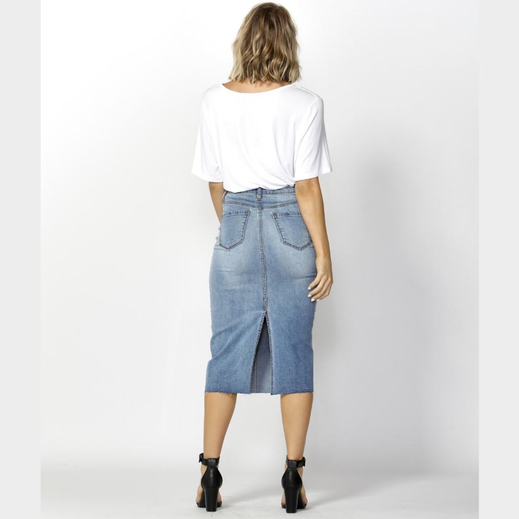 Women's Skirts Australia | Cooper Denim Skirt| FATE + BECKER