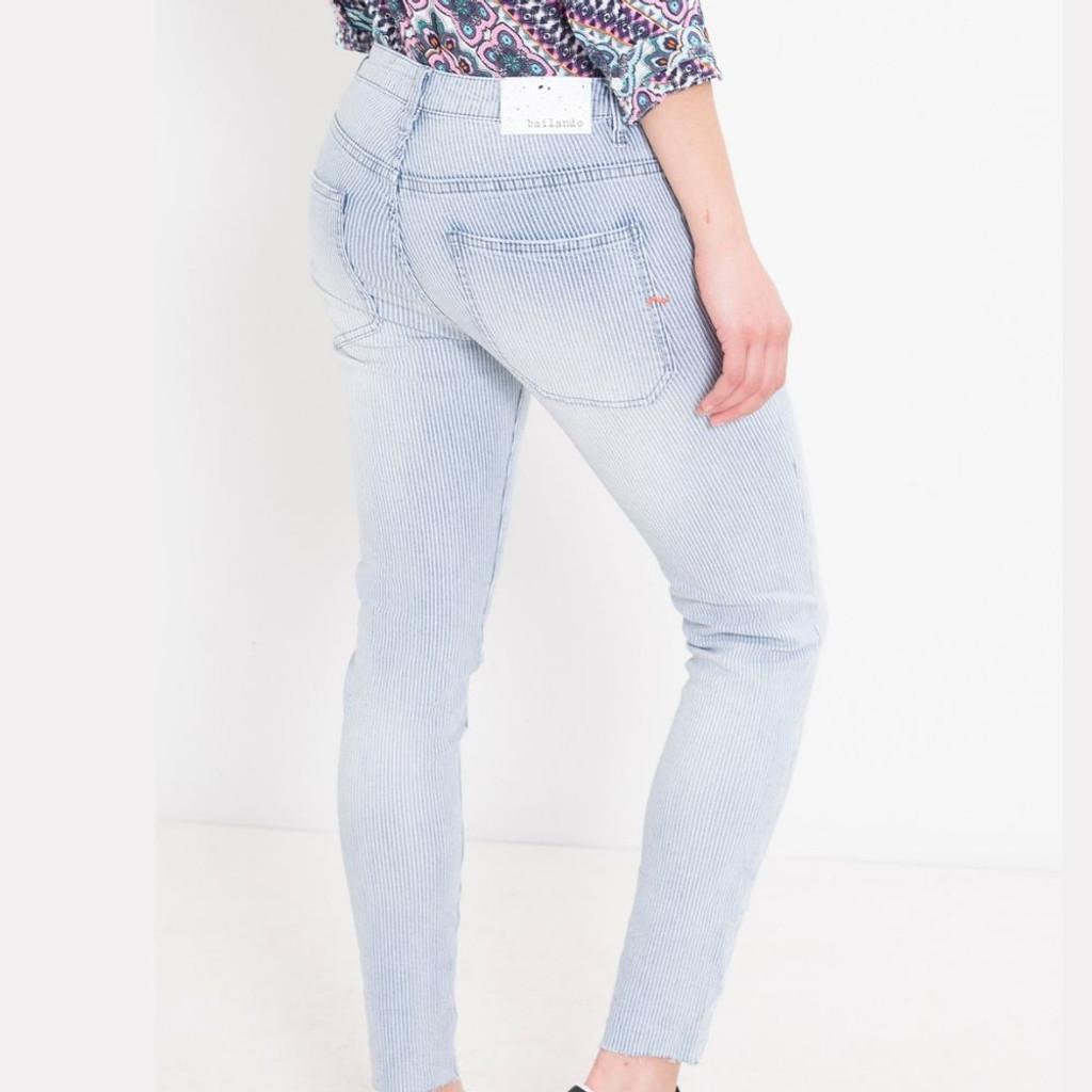 Women's Jeans   Stripe Morion Jeans   BIANCO