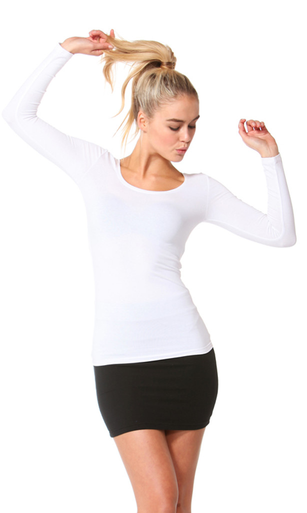 Women's tops| Madonna Long Sleeve Scoop Top| BETTY BASICS