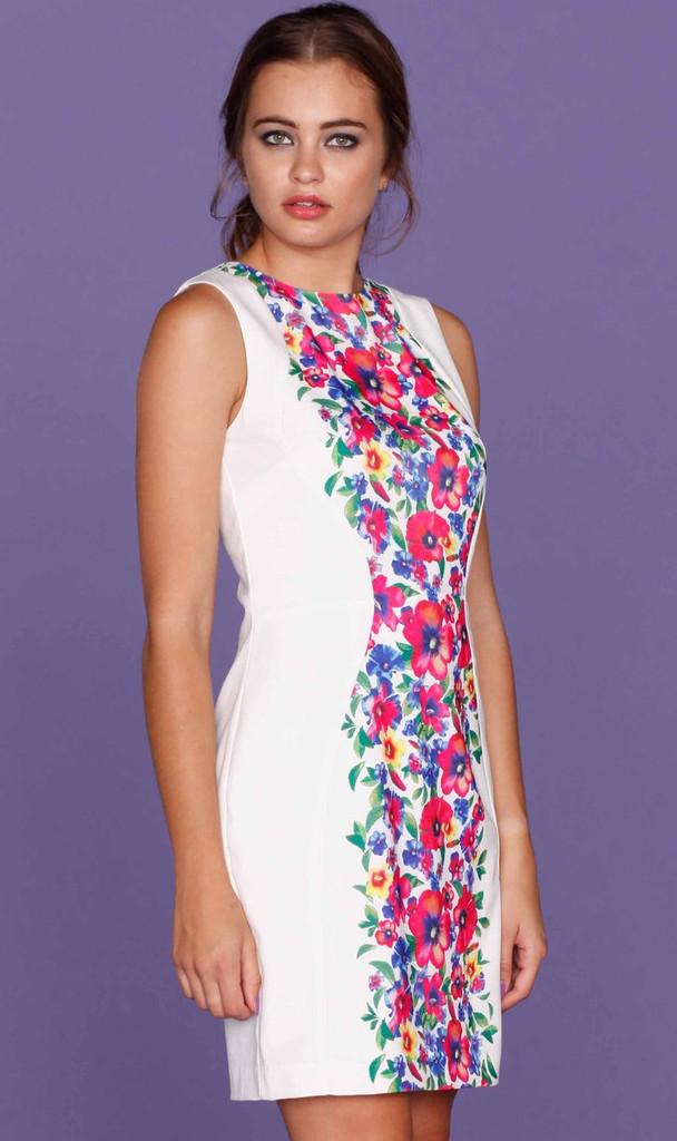 Ladies Dresses | Fallen Blossoms Splice Dress | HONEY & BEAU