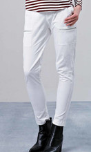Women's Pants | EM447 White Tapered Pants | ELLY M