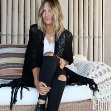 Women's Jackets | Stardust Crochet Kimono in Black | BIJOU