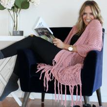 Women's Jackets   Stardust Crochet Kimono in Dusty Pink   BIJOU