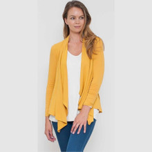 Women's Jackets |  Waterfall Cardi in Mustard | VIGORELLA
