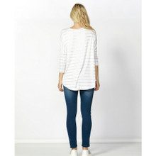 Milan 3/4 Sleeve Top SP18 in White/Rose Gold Stripe by BETTY BASICS**