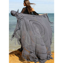 Women's Jackets |  Day Dreamer Crochet Throw in Stone Grey | BIJOU