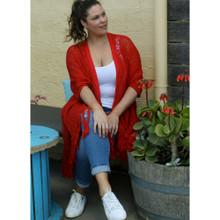 Women's Knits | Stardust Crochet Kimono in Ruby | BIJOU
