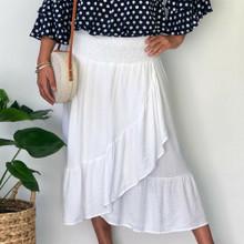 Ladies Dresses | Havana Midi Skirt in White | NOOSA SOL