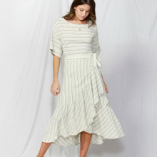 Women's skirt online | Naples Frilled Skirt in Natural/Green Stripe | FATE + BECKER