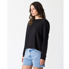 Women's Tops | Long Sleeve Vintage Tee in Black  | CASA AMUK