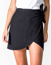 Women's Skirts | Linen Wrap Skirt in Black | CASA AMUK