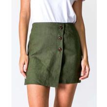 Women's Skirts   A-Line Linen Skirt in Khaki   CASA AMUK