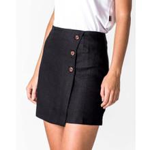 Women's Skirts | A-Line Linen Skirt in Black | CASA AMUK