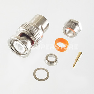 BNC Male Connector Clamp Attachment Coax RG55, RG58, RG55A, Nickel Plating