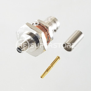 BNC Female Bulkhead Rear Mount Connector Crimp Attachment Coax RG55A, RG58A, RG58C, Nickel Plating, Water Resistant